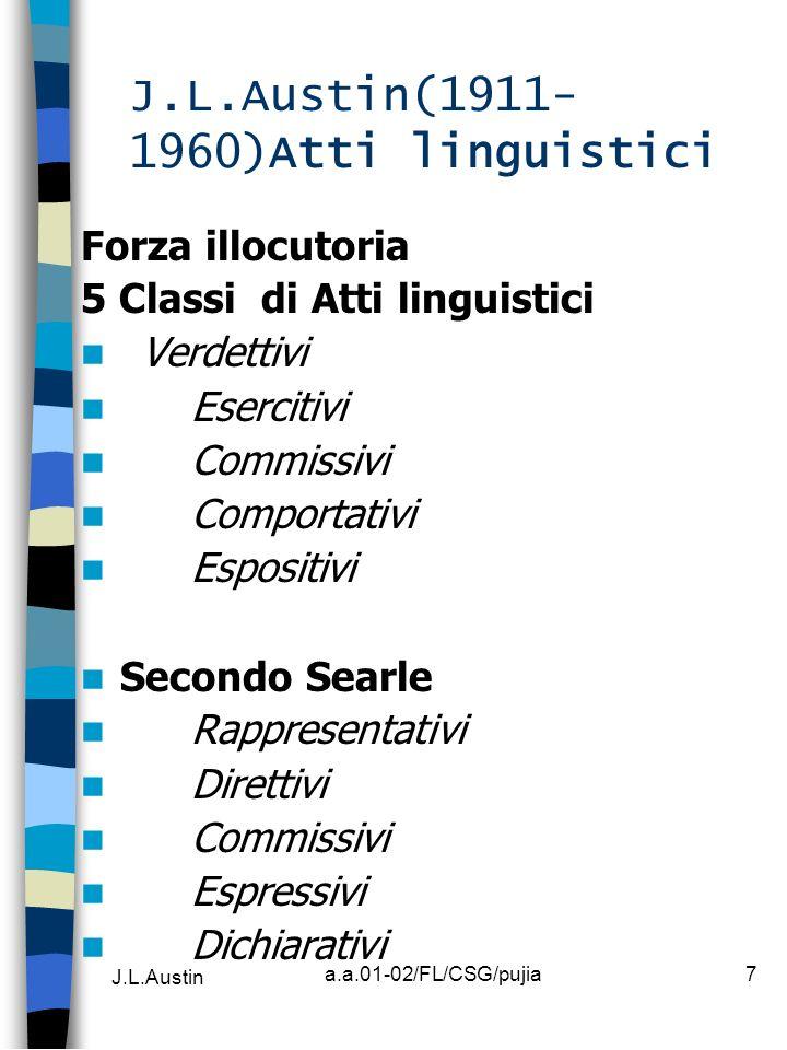 J.L.Austin a.a.01-02/FL/CSG/pujia7 J.L.Austin(1911- 1960)Atti linguistici Forza illocutoria 5 Classi di Atti linguistici Verdettivi Esercitivi Commiss