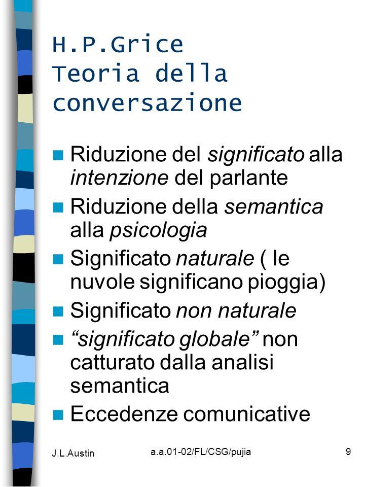J.L.Austin a.a.01-02/FL/CSG/pujia9 H.P.Grice Teoria della conversazione Riduzione del significato alla intenzione del parlante Riduzione della semanti