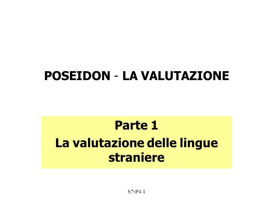 S7-P4.1 CRITERI DI VALUTAZIONE della PRODUZIONE/INTERAZIONE ORALE Esecuzione del compito Organizzazione Pronuncia Grammatica e Vocabolario Efficacia Comunicativa