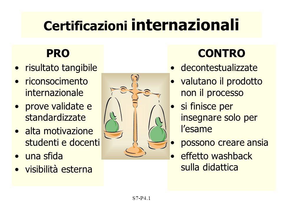 S7-P4.1 Certificazioni internazionali PRO risultato tangibile riconsocimento internazionale prove validate e standardizzate alta motivazione studenti