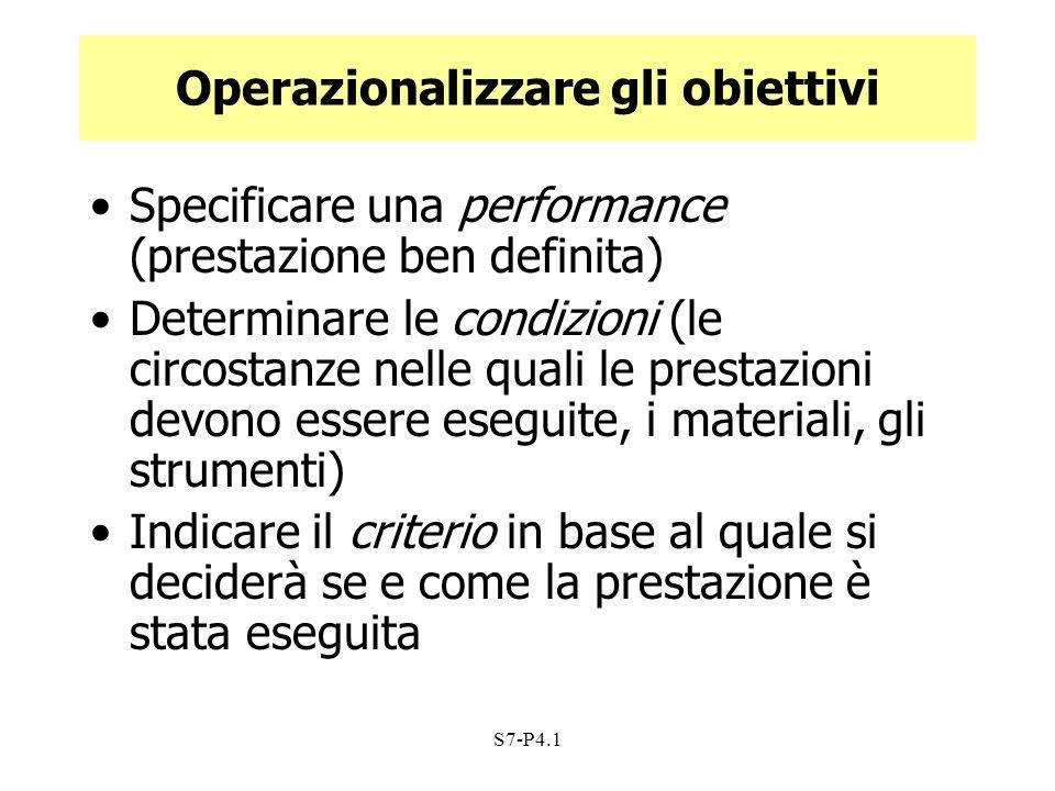S7-P4.1 Operazionalizzare gli obiettivi Specificare una performance (prestazione ben definita) Determinare le condizioni (le circostanze nelle quali l