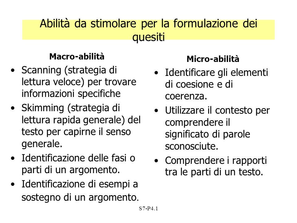 S7-P4.1 Abilità da stimolare per la formulazione dei quesiti Macro-abilità Scanning (strategia di lettura veloce) per trovare informazioni specifiche