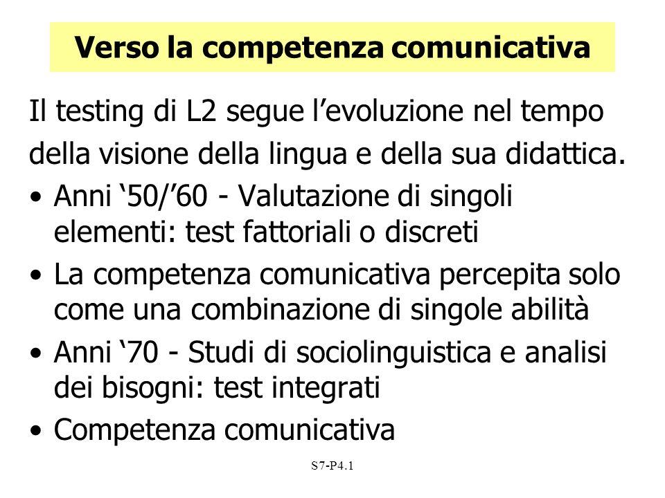 S7-P4.1 Competenza comunicativa La capacità del parlante di selezionare, nell ambito di tutte le espressioni grammaticali a sua disposizione, quelle forme che riflettono in modo appropriato le norme sociali che governano il comportamento in situazioni specifiche.