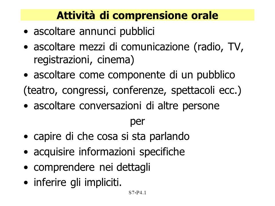 S7-P4.1 Attività di comprensione orale ascoltare annunci pubblici ascoltare mezzi di comunicazione (radio, TV, registrazioni, cinema) ascoltare come c