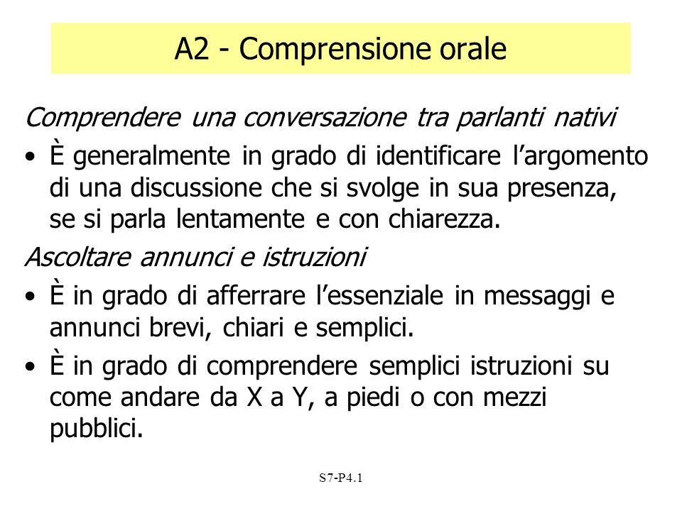S7-P4.1 A2 - Comprensione orale Comprendere una conversazione tra parlanti nativi È generalmente in grado di identificare largomento di una discussion