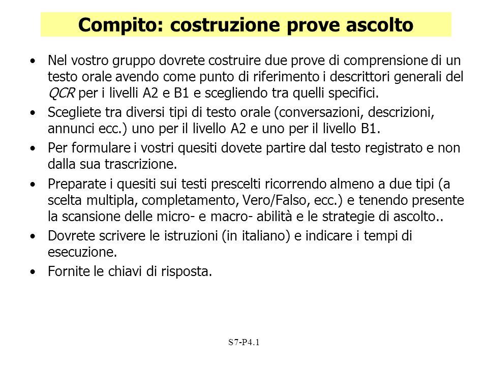 S7-P4.1 Compito: costruzione prove ascolto Nel vostro gruppo dovrete costruire due prove di comprensione di un testo orale avendo come punto di riferi