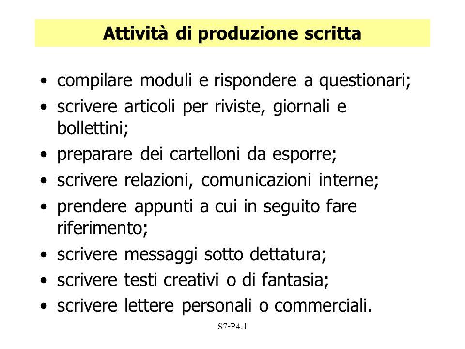 S7-P4.1 Attività di produzione scritta compilare moduli e rispondere a questionari; scrivere articoli per riviste, giornali e bollettini; preparare de