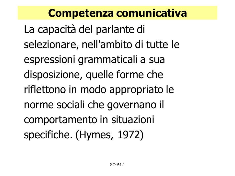 S7-P4.1 Competenza comunicativa La capacità del parlante di selezionare, nell'ambito di tutte le espressioni grammaticali a sua disposizione, quelle f
