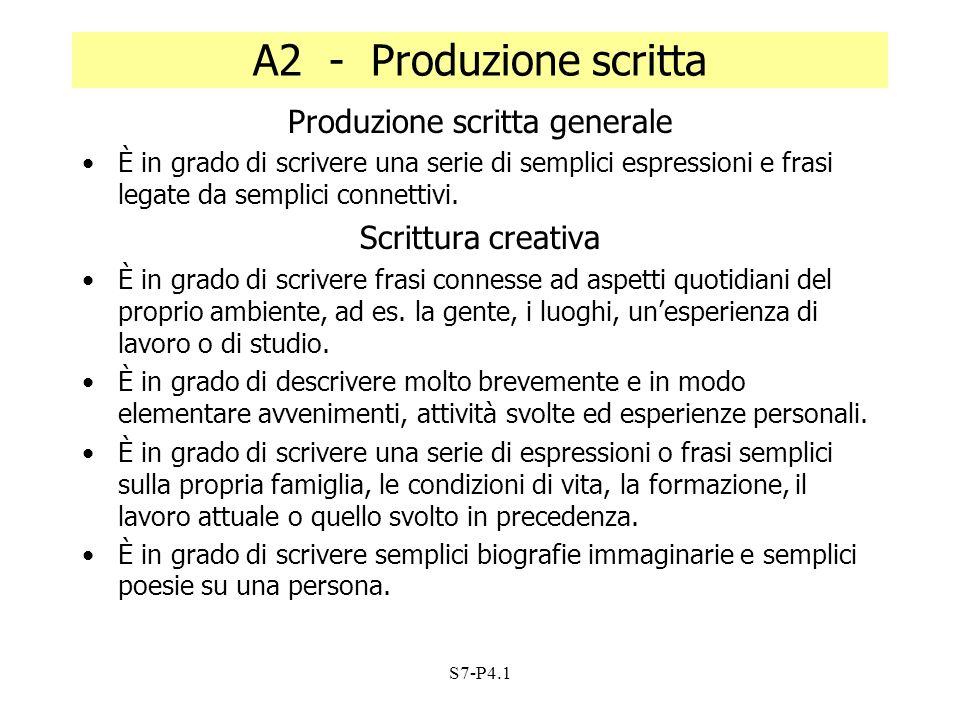 S7-P4.1 A2 - Produzione scritta Produzione scritta generale È in grado di scrivere una serie di semplici espressioni e frasi legate da semplici connet