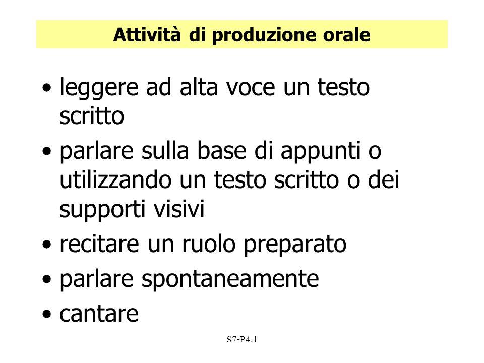S7-P4.1 Attività di produzione orale leggere ad alta voce un testo scritto parlare sulla base di appunti o utilizzando un testo scritto o dei supporti