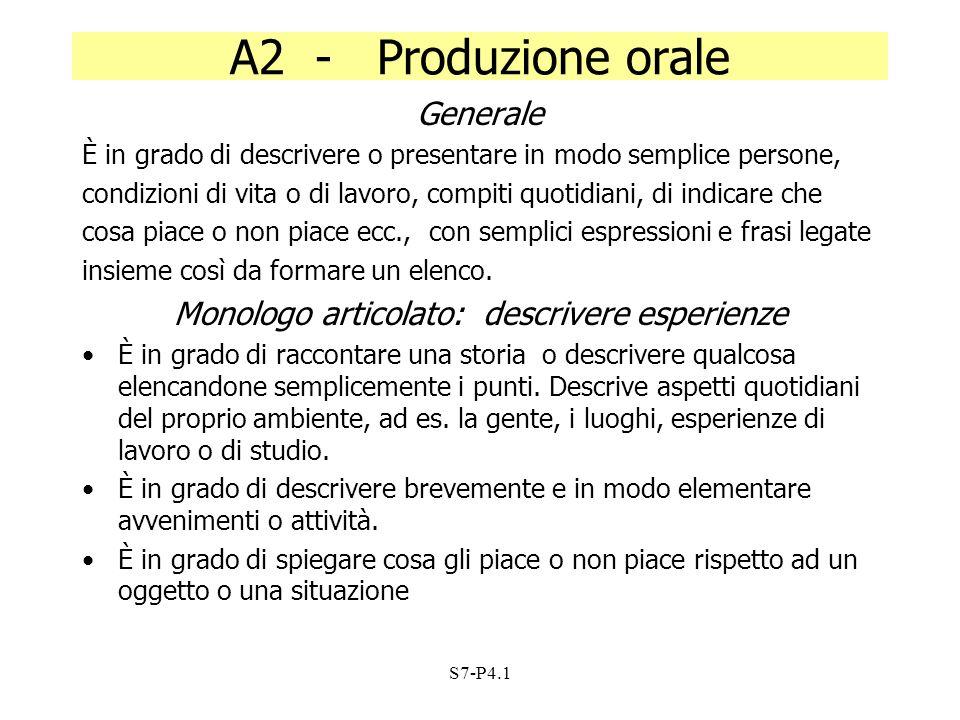 S7-P4.1 A2 - Produzione orale Generale È in grado di descrivere o presentare in modo semplice persone, condizioni di vita o di lavoro, compiti quotidi