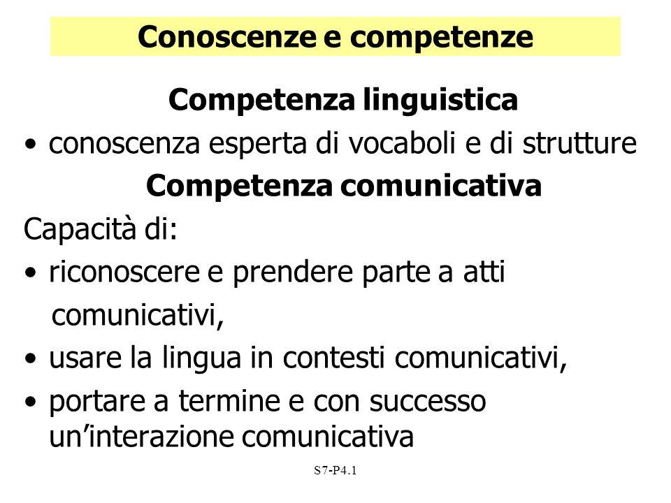 S7-P4.1 Conoscenze e competenze Competenza linguistica conoscenza esperta di vocaboli e di strutture Competenza comunicativa Capacità di: riconoscere