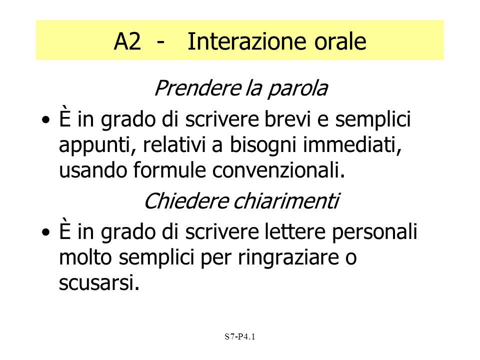 S7-P4.1 A2 - Interazione orale Prendere la parola È in grado di scrivere brevi e semplici appunti, relativi a bisogni immediati, usando formule conven