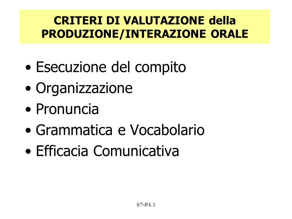 S7-P4.1 CRITERI DI VALUTAZIONE della PRODUZIONE/INTERAZIONE ORALE Esecuzione del compito Organizzazione Pronuncia Grammatica e Vocabolario Efficacia C