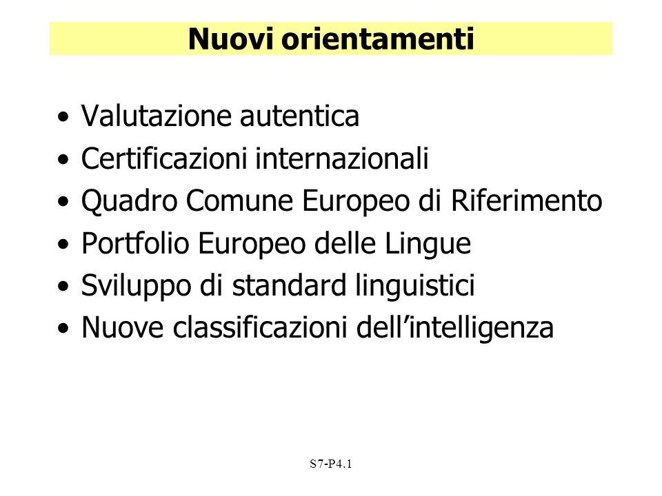 S7-P4.1 Nuovi orientamenti Valutazione autentica Certificazioni internazionali Quadro Comune Europeo di Riferimento Portfolio Europeo delle Lingue Svi