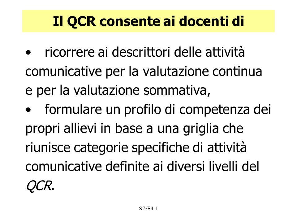 S7-P4.1 Il QCR consente ai docenti di ricorrere ai descrittori delle attività comunicative per la valutazione continua e per la valutazione sommativa,