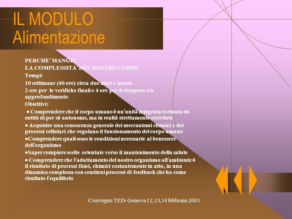 Convegno TED- Genova 12,13,14 febbraio 2001 Scelta La mappa dellipertesto Organismo Crescita Mantenimento corporeo Equilibrio Dieta bilanciata Nutrien