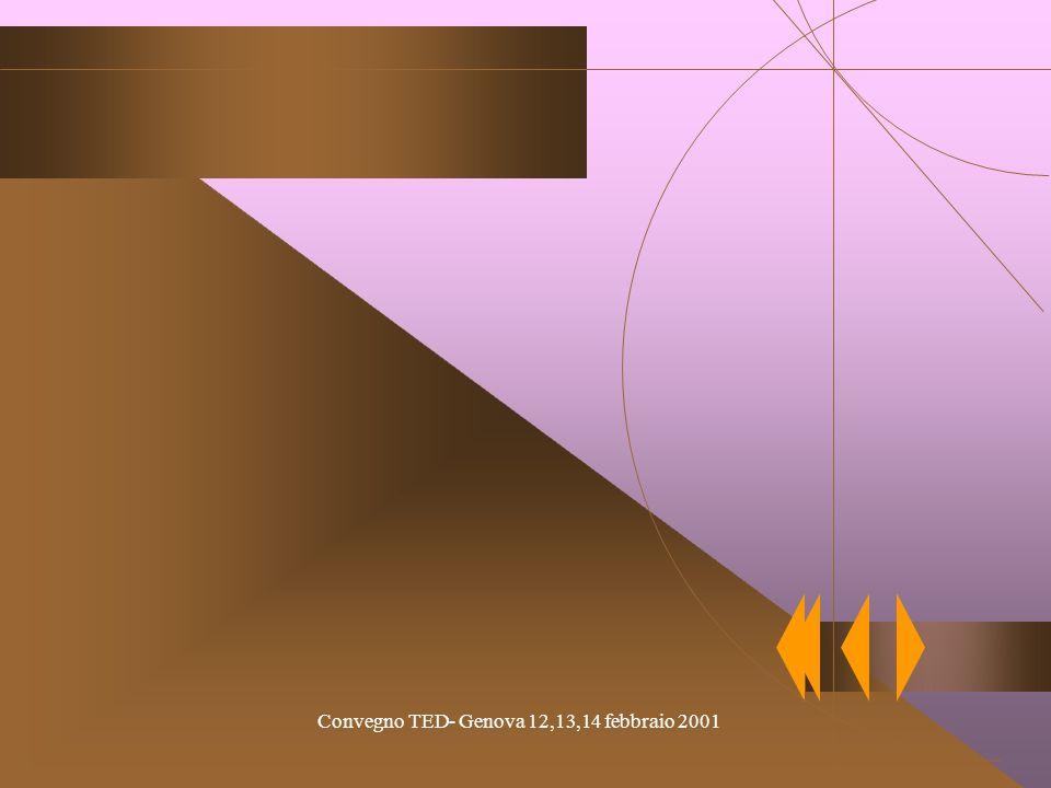 Convegno TED- Genova 12,13,14 febbraio 2001 Lezioni frontali, proiezione di audiovisi, discussioni, lavori di gruppo, lavori in Laboratorio di informa