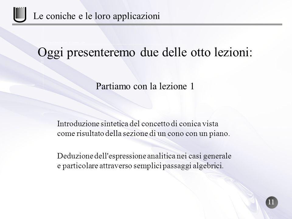Introduzione sintetica del concetto di conica vista come risultato della sezione di un cono con un piano. Oggi presenteremo due delle otto lezioni: Pa
