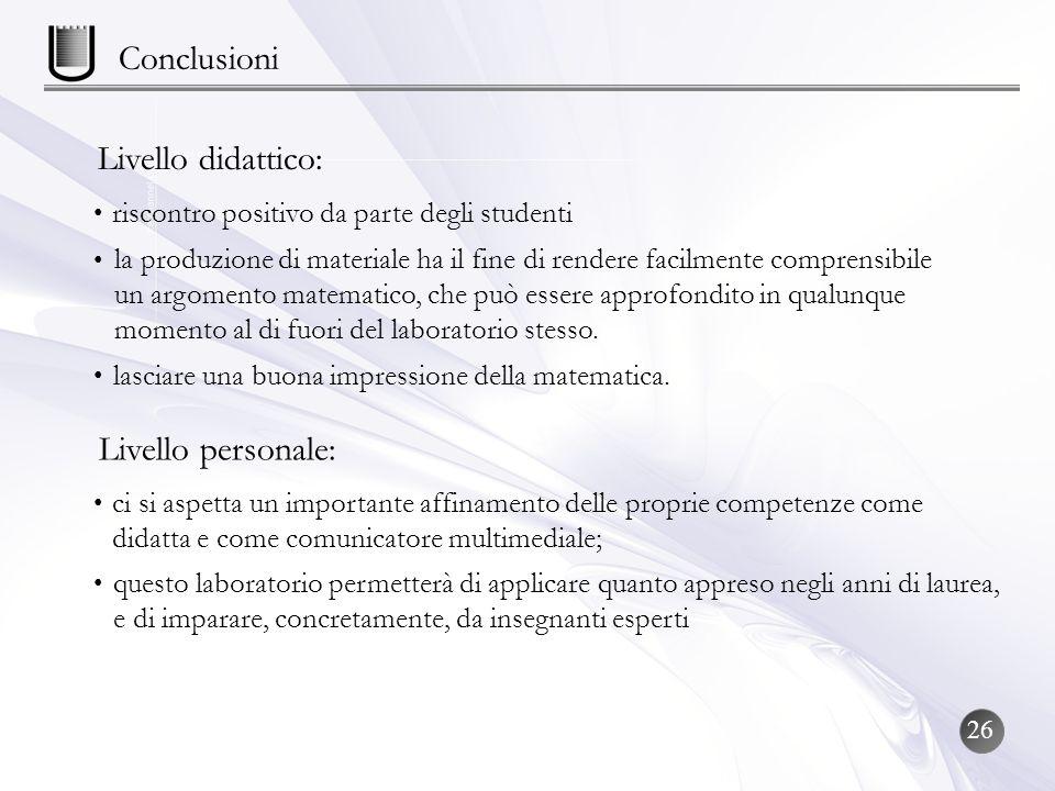 Conclusioni Livello didattico: riscontro positivo da parte degli studenti la produzione di materiale ha il fine di rendere facilmente comprensibile un