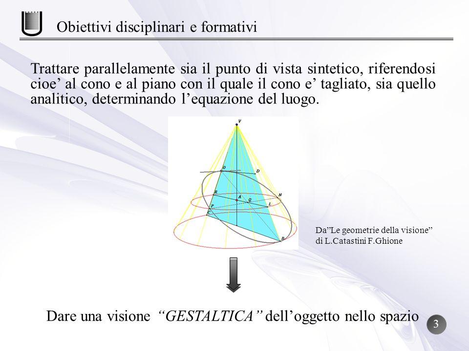 Dare una visione GESTALTICA delloggetto nello spazio Trattare parallelamente sia il punto di vista sintetico, riferendosi cioe al cono e al piano con