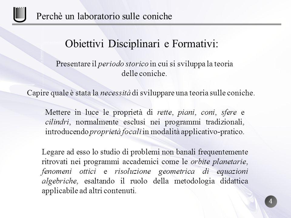 Obiettivi Disciplinari e Formativi: Presentare il periodo storico in cui si sviluppa la teoria delle coniche. Capire quale è stata la necessità di svi