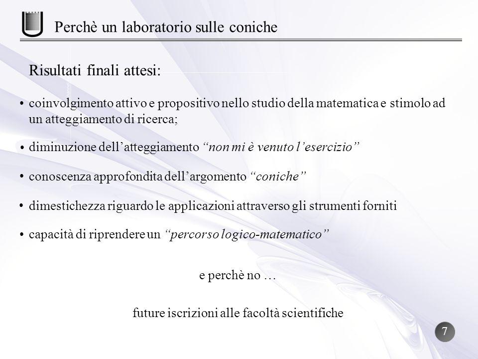 Risultati finali attesi: e perchè no … future iscrizioni alle facoltà scientifiche Perchè un laboratorio sulle coniche coinvolgimento attivo e proposi