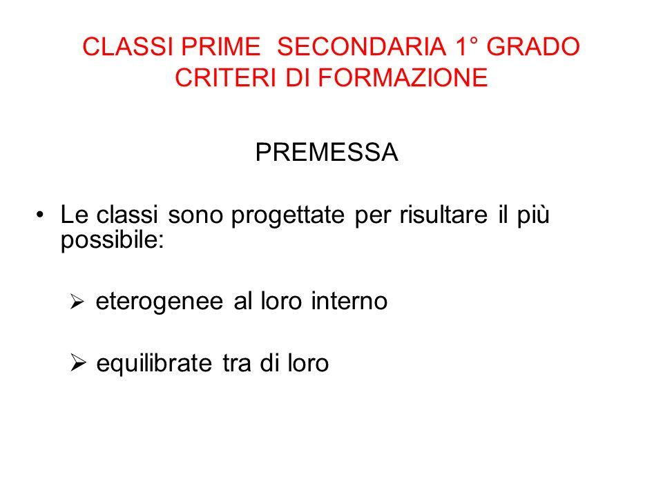 CLASSI PRIME SECONDARIA 1° GRADO CRITERI DI FORMAZIONE PREMESSA Le classi sono progettate per risultare il più possibile: eterogenee al loro interno e