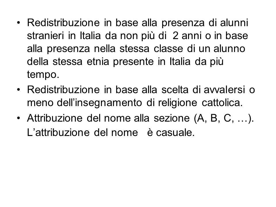 Redistribuzione in base alla presenza di alunni stranieri in Italia da non più di 2 anni o in base alla presenza nella stessa classe di un alunno dell