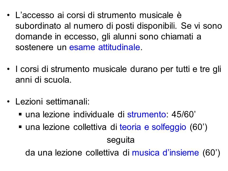 Laccesso ai corsi di strumento musicale è subordinato al numero di posti disponibili. Se vi sono domande in eccesso, gli alunni sono chiamati a sosten