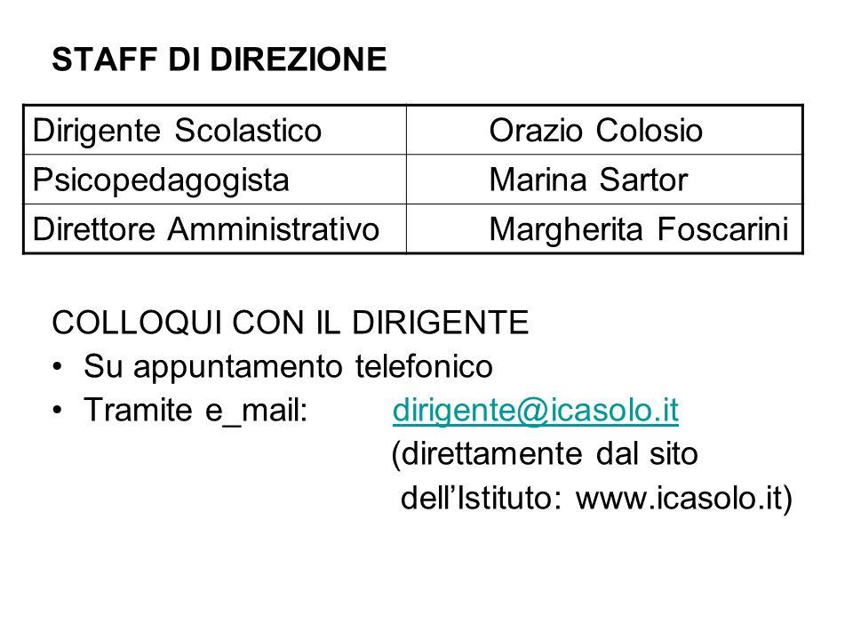 STAFF DI DIREZIONE COLLOQUI CON IL DIRIGENTE Su appuntamento telefonico Tramite e_mail:dirigente@icasolo.itdirigente@icasolo.it (direttamente dal sito