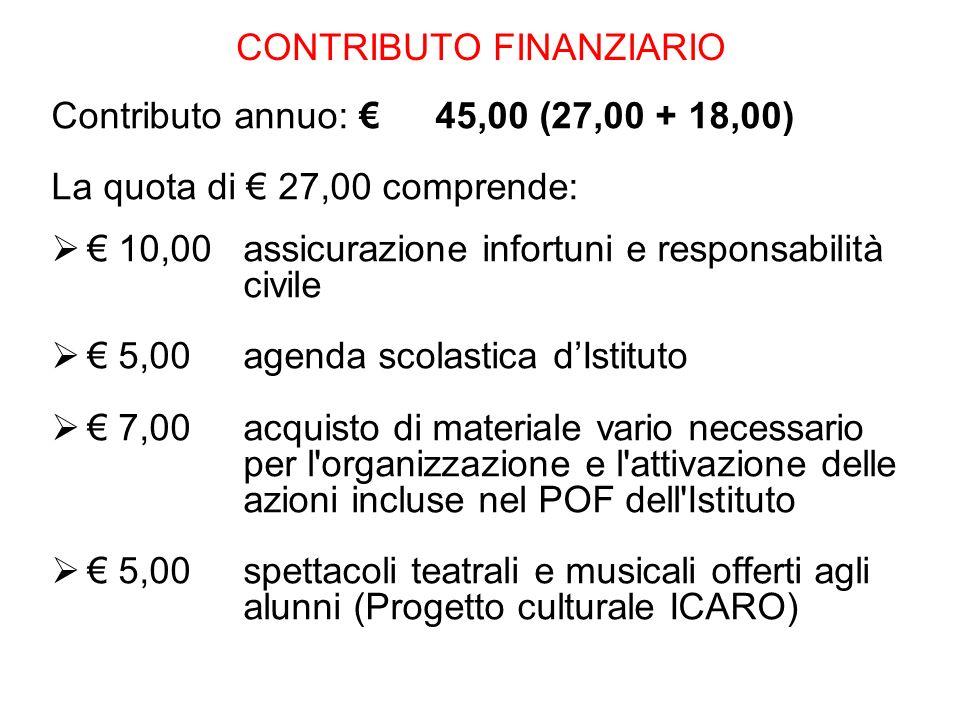 CONTRIBUTO FINANZIARIO Contributo annuo: 45,00 (27,00 + 18,00) La quota di 27,00 comprende: 10,00 assicurazione infortuni e responsabilità civile 5,00