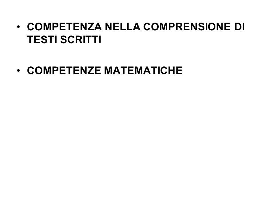 COMPETENZA NELLA COMPRENSIONE DI TESTI SCRITTI COMPETENZE MATEMATICHE