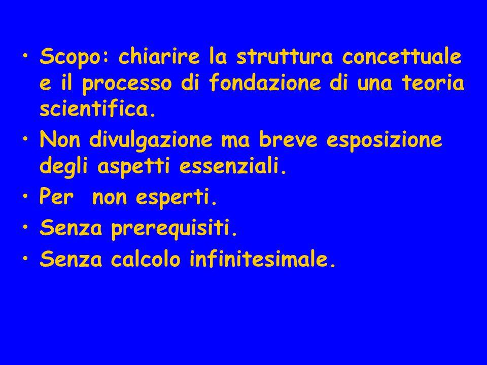 Scopo: chiarire la struttura concettuale e il processo di fondazione di una teoria scientifica. Non divulgazione ma breve esposizione degli aspetti es
