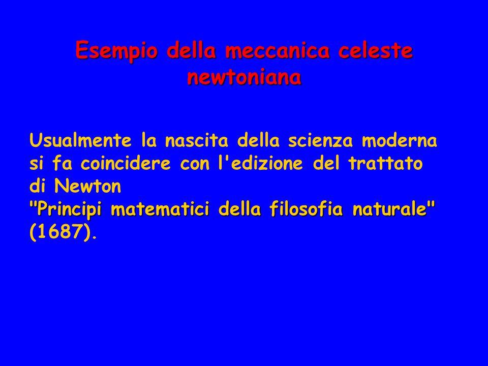 Esempio della meccanica celeste newtoniana Usualmente la nascita della scienza moderna si fa coincidere con l'edizione del trattato di Newton