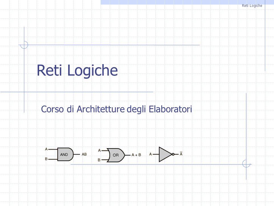 RETI LOGICHE12 Funzioni di commutazione elementari 2 Funzioni 2-arie x2x2 x1x1 y1y1 y2y2 y3y3 y4y4 y5y5 y6y6 y7y7 y8y8 0000000000 0100001111 1000110011 1101010101 y 1 = 0 y 2 = x 1 AND x 2 y 4 = x 2 y 6 = x 1 y 7 = x 1 XOR x 2 y 8 = x 1 OR x 2 Funzioni di commutazione elementari