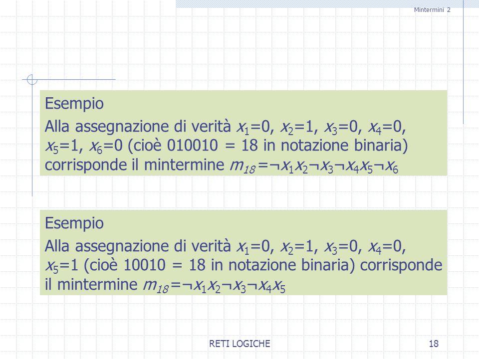 RETI LOGICHE18 Esempio Alla assegnazione di verità x 1 =0, x 2 =1, x 3 =0, x 4 =0, x 5 =1, x 6 =0 (cioè 010010 = 18 in notazione binaria) corrisponde