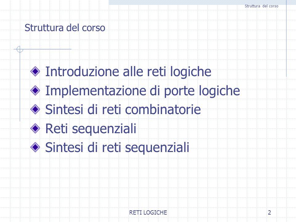 RETI LOGICHE2 Struttura del corso Introduzione alle reti logiche Implementazione di porte logiche Sintesi di reti combinatorie Reti sequenziali Sintes