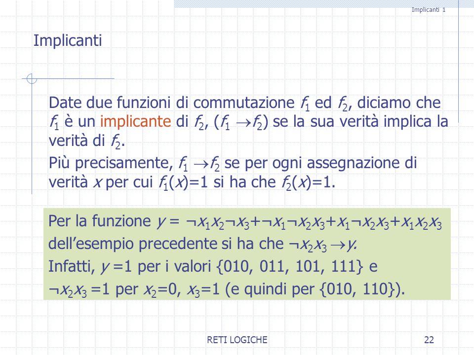 RETI LOGICHE22 Implicanti 1 Date due funzioni di commutazione f 1 ed f 2, diciamo che f 1 è un implicante di f 2, (f 1 f 2 ) se la sua verità implica