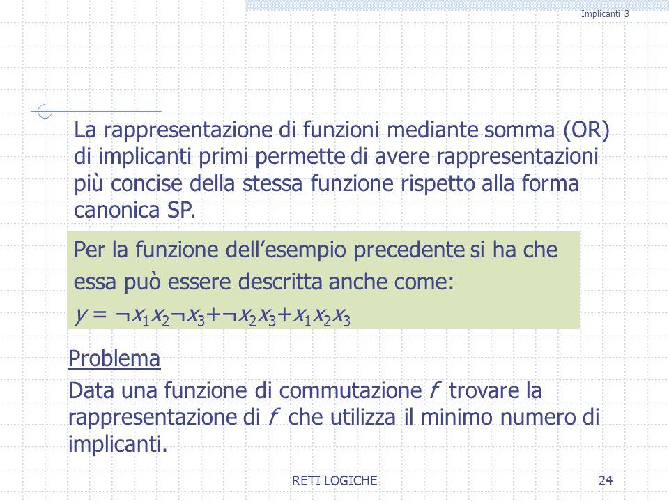 RETI LOGICHE24 La rappresentazione di funzioni mediante somma (OR) di implicanti primi permette di avere rappresentazioni più concise della stessa fun