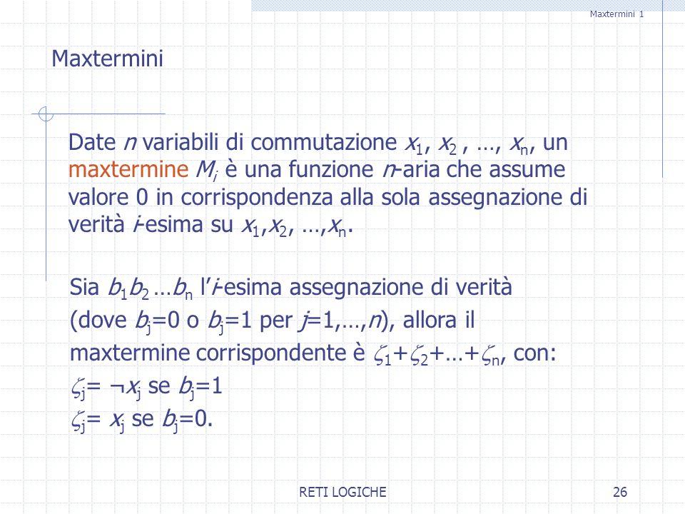 RETI LOGICHE26 Maxtermini 1 Date n variabili di commutazione x 1, x 2, …, x n, un maxtermine M i è una funzione n-aria che assume valore 0 in corrispo