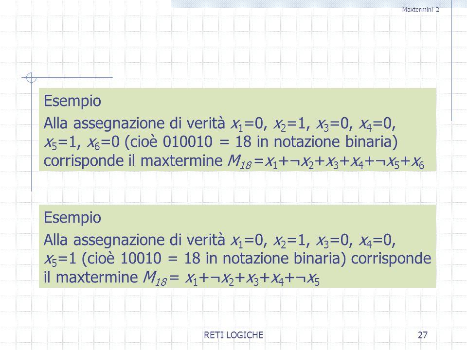 RETI LOGICHE27 Esempio Alla assegnazione di verità x 1 =0, x 2 =1, x 3 =0, x 4 =0, x 5 =1, x 6 =0 (cioè 010010 = 18 in notazione binaria) corrisponde