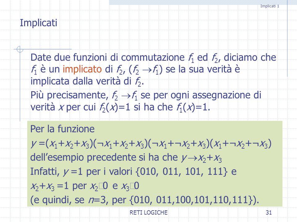RETI LOGICHE31 Implicati 1 Date due funzioni di commutazione f 1 ed f 2, diciamo che f 1 è un implicato di f 2, (f 2 f 1 ) se la sua verità è implicat