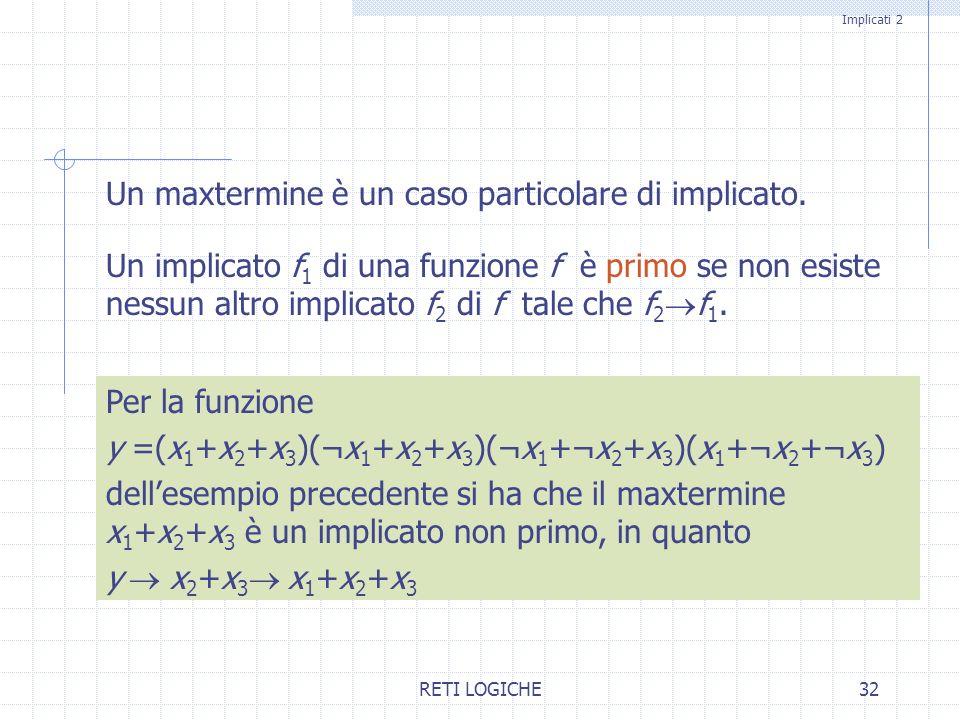 RETI LOGICHE32 Un maxtermine è un caso particolare di implicato. Un implicato f 1 di una funzione f è primo se non esiste nessun altro implicato f 2 d