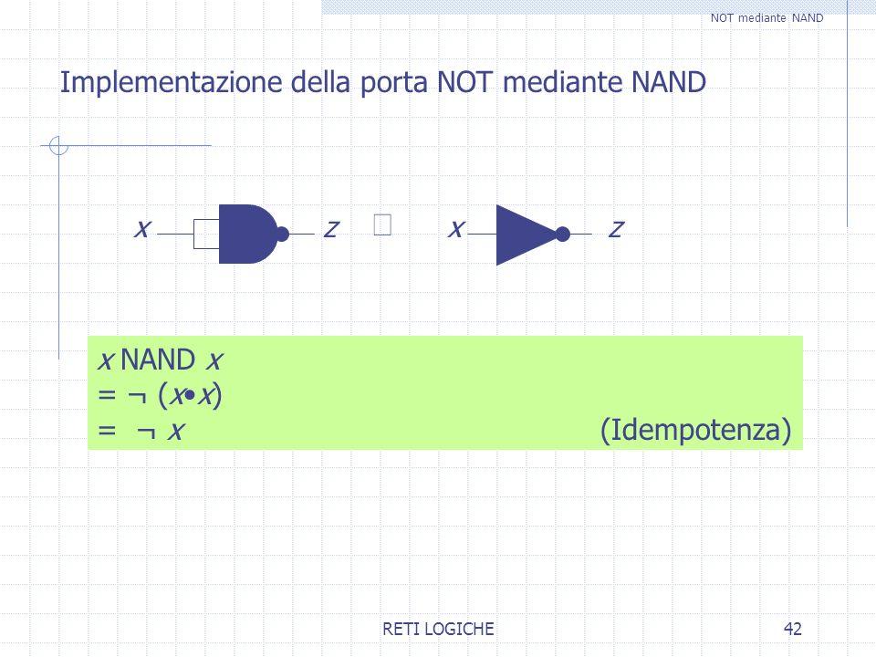RETI LOGICHE42 Implementazione della porta NOT mediante NAND xzxz x NAND x = ¬ (xx) = ¬ x (Idempotenza) NOT mediante NAND
