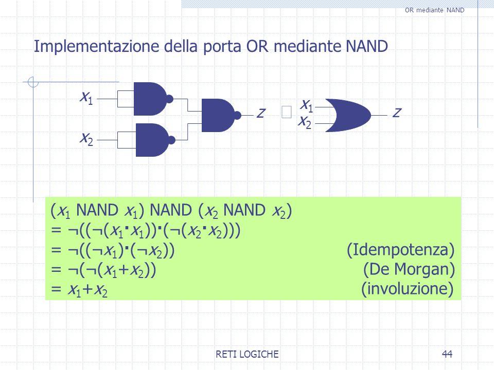 RETI LOGICHE44 Implementazione della porta OR mediante NAND OR mediante NAND (x 1 NAND x 1 ) NAND (x 2 NAND x 2 ) = ¬((¬(x 1 ·x 1 ))·(¬(x 2 ·x 2 ))) =
