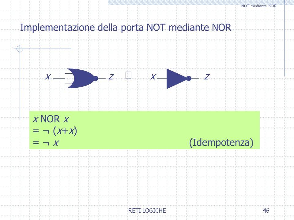 RETI LOGICHE46 Implementazione della porta NOT mediante NOR x NOR x = ¬ (x+x) = ¬ x (Idempotenza) NOT mediante NOR xzxz