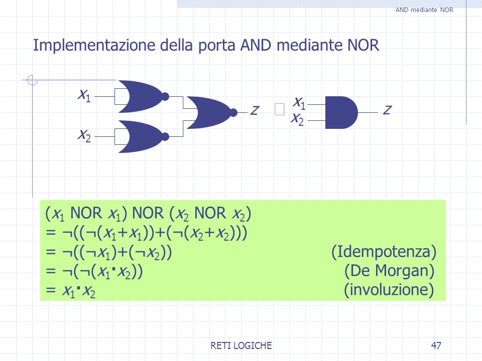 RETI LOGICHE47 Implementazione della porta AND mediante NOR AND mediante NOR (x 1 NOR x 1 ) NOR (x 2 NOR x 2 ) = ¬((¬(x 1 +x 1 ))+(¬(x 2 +x 2 ))) = ¬(