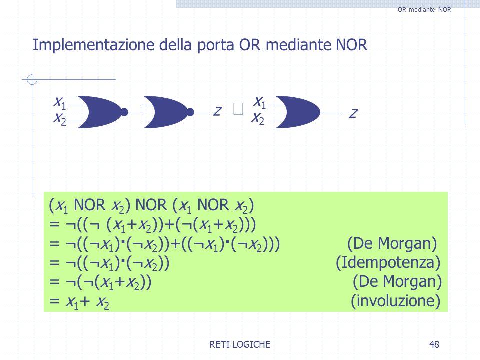 RETI LOGICHE48 Implementazione della porta OR mediante NOR OR mediante NOR (x 1 NOR x 2 ) NOR (x 1 NOR x 2 ) = ¬((¬ (x 1 +x 2 ))+(¬(x 1 +x 2 ))) = ¬((
