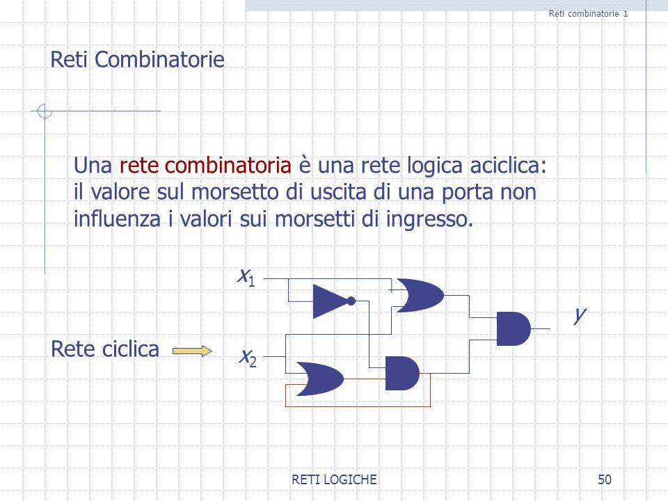 RETI LOGICHE50 Reti combinatorie 1 Reti Combinatorie Una rete combinatoria è una rete logica aciclica: il valore sul morsetto di uscita di una porta n
